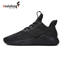 Soulsfeng Men's Cushion Running Shoes Plush Lining Black Outdoor Sneakers Mesh Breathable Classic Outdoor Sports Shoes OF171113
