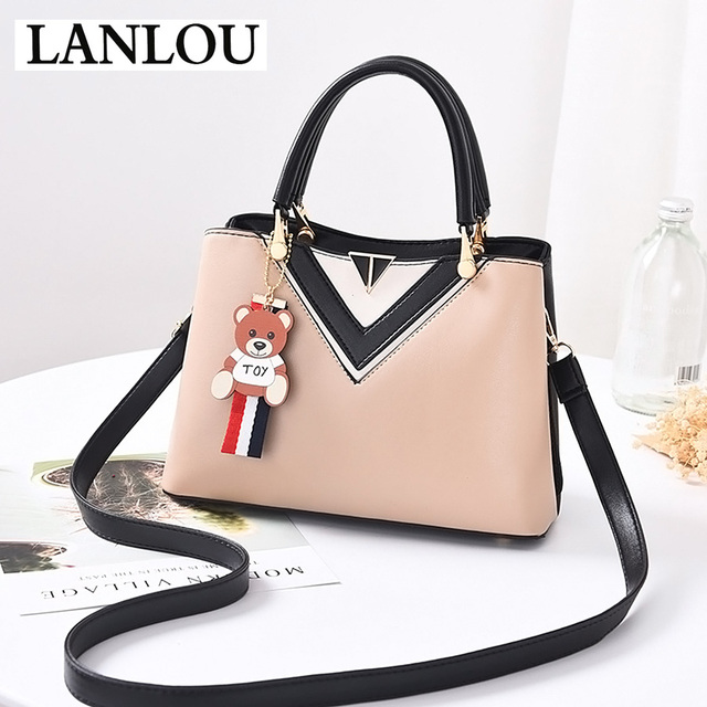 LANLOU Women s bag Luxury Fashion Handbags Leather Crossbody bags for women  Cute bear pendant TOP- 764b1fb467c34