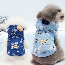 Pet dog Teddy ladies cute denim coat warm plush autumn and winter pet clothing