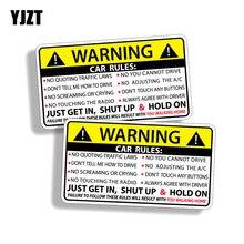 YJZT 2X 10,2 CM * 5,7 CM Auto Sicherheit Warnung Regeln Aufkleber PVC Auto Aufkleber 12 0585