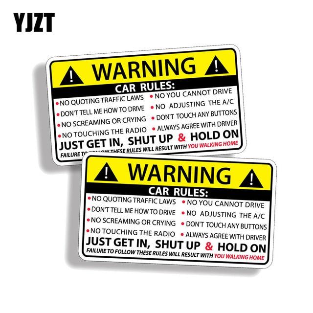 YJZT 2X 10.2 cm * 5.7 cm Regras Decalque Etiqueta Do Carro PVC 12 Aviso de Segurança Do Carro-0585