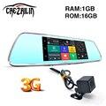 3G WCDMA 7 polegada Câmera DVR Do Carro Do Bluetooth FM WI-FI Lente dupla espelho retrovisor Inteligente Android 5.0 Câmara de Traço cam dvrs