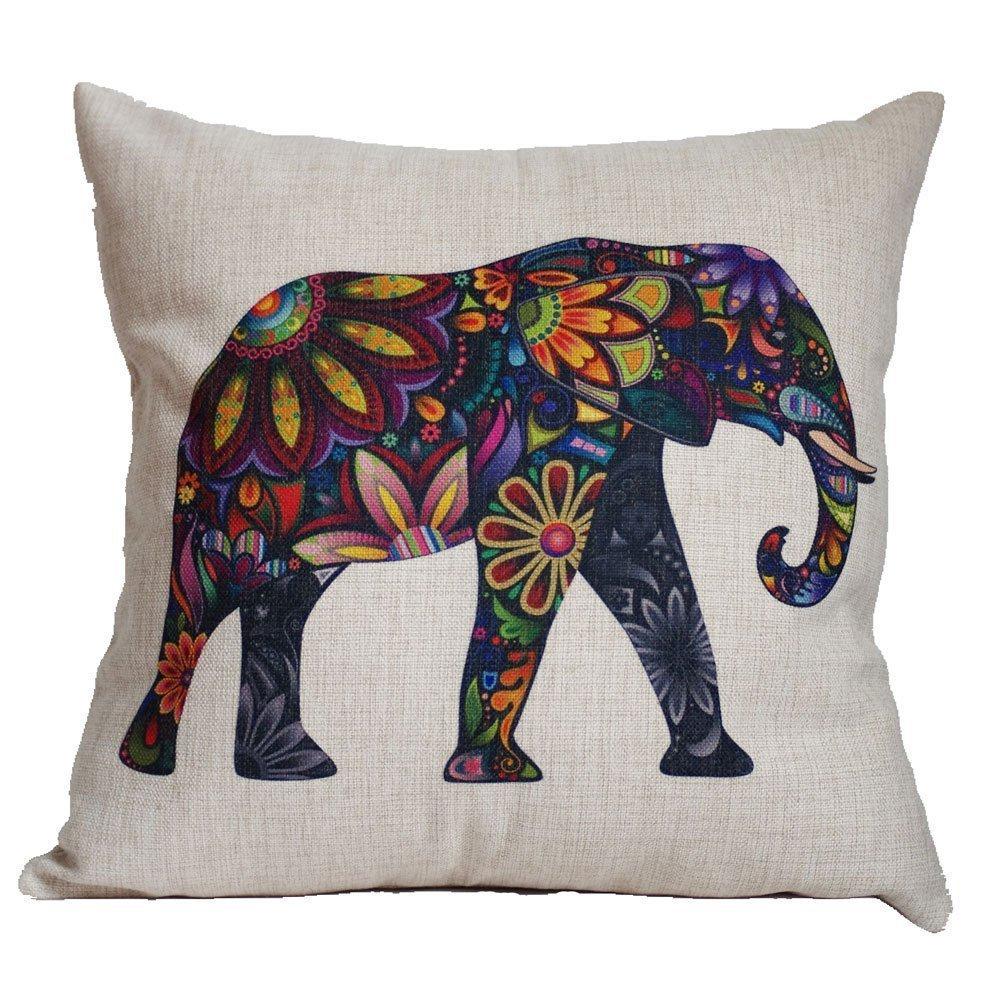 Fashion Indian Elephant Throw Pillow Covers Sofa Cotton Linen