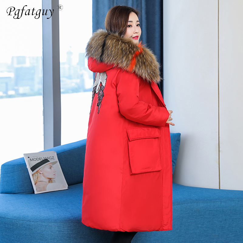 Femmes Hiver Manteau Le 5xl X Bas rouge Veste Grand Femme Col Rayé Fourrure long Vers De Épais L Plus Noir Grande Taille Parka Outwear La BznBtwYAq