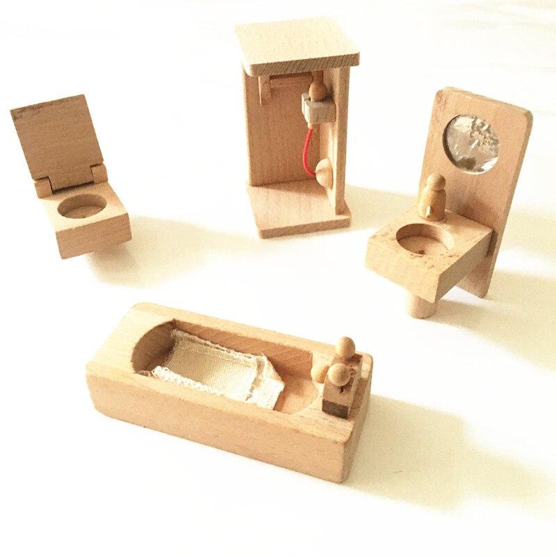 Juguetes de madera tradicionales Mini Muebles de madera Juguete Casa - Juguetes clásicos - foto 3