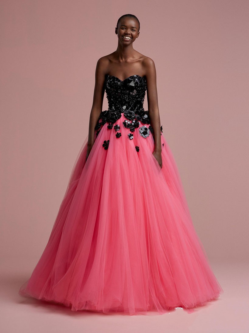 African Fashion Watermelon Color Long Tulle Prom Gowns With Black ...