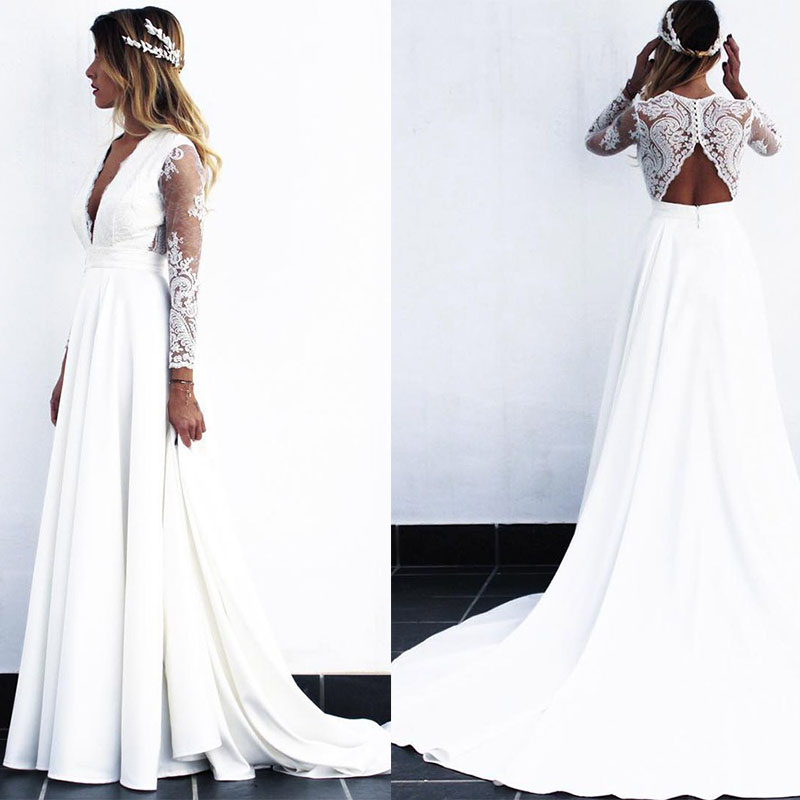 Cheap Long White Lace A line Wedding Dresses Bridal Gowns vestido de noiva 2019 with see
