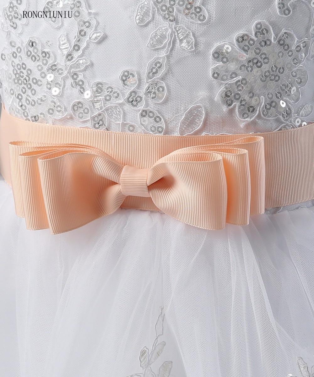 Flori rochie de fata 2017 Lace Up Pinke centura rochie de balet - Rochii de seară de nuntă - Fotografie 6
