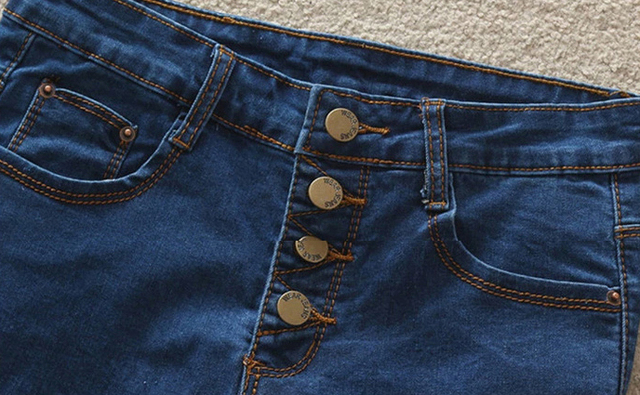 High Waist Blue Jeans Short