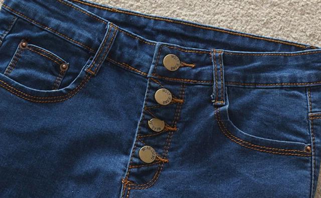 High Waist Blue Jeans Short
