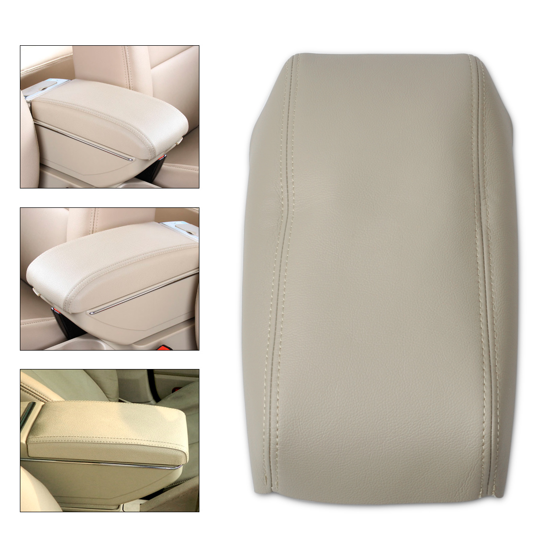 DWCX Beige Leather Front Console Lid Armrest Cover Waterproof Perfection for Honda Accord 1998 1999 2000 2001 2002 DIY