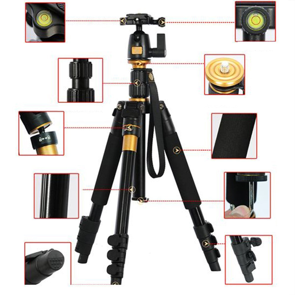 DSLR Camera Tripod - Professional Portable Travel Compact Monopod With Ball Head Adjustable Legs Magnesium Aluminium For Canon carbon fiber lightweight portable professional travel camera tripod monopod ball head compact for canon nikon sony dslr camera