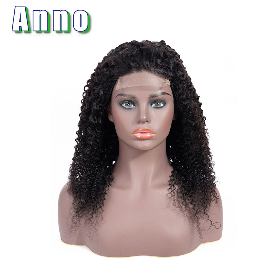 Annowig Kinky Curly Wig Brazilian Lace Front Human Hair Wigs 10 22 Long Hair 4x4 Size
