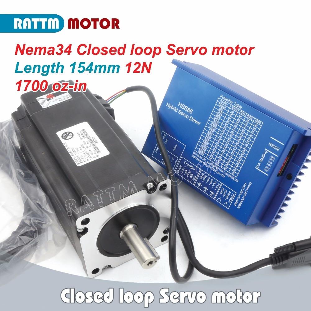 (EU Ship & fee Taxis to EU) Nema34 Closed-loop Servo motor 12N.m 6A 2HSS86H Hybrid Step-servo Driver CNC Controller 8A RATTM
