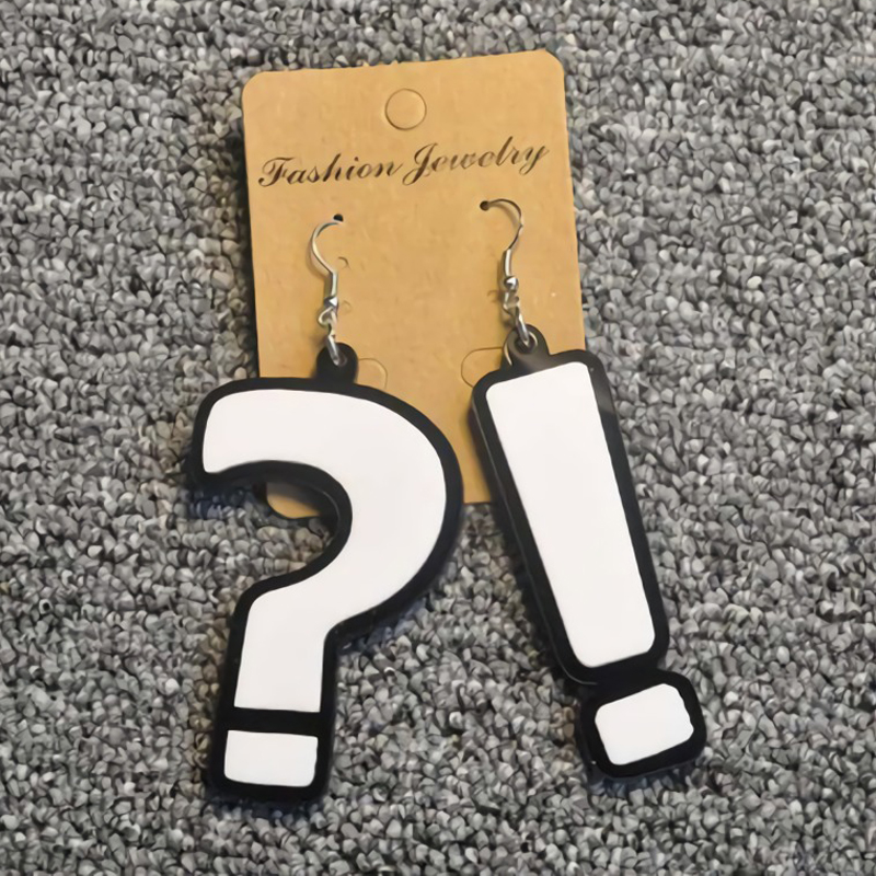 Hook Drop Earrings Question Mark Exclamation Mark Fashion Big Long Drop Earrings Jewelry For Girl Wholesale Earring