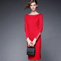 Dress Women 2016 Autumn Winter Brief Vintage Lace Patchwork Slim Bodycon Long Sleeve Midi Dress Red