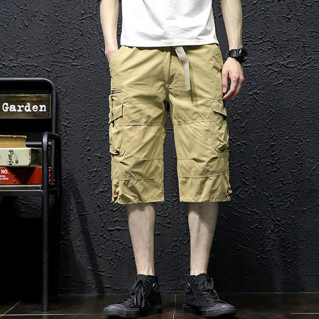 Летние Для мужчин багги с карманами военных молнии грузов короткие горячий Бриджи мужские длинные Армейский зеленый хаки Для мужчин тактические Короткие плюс размеры
