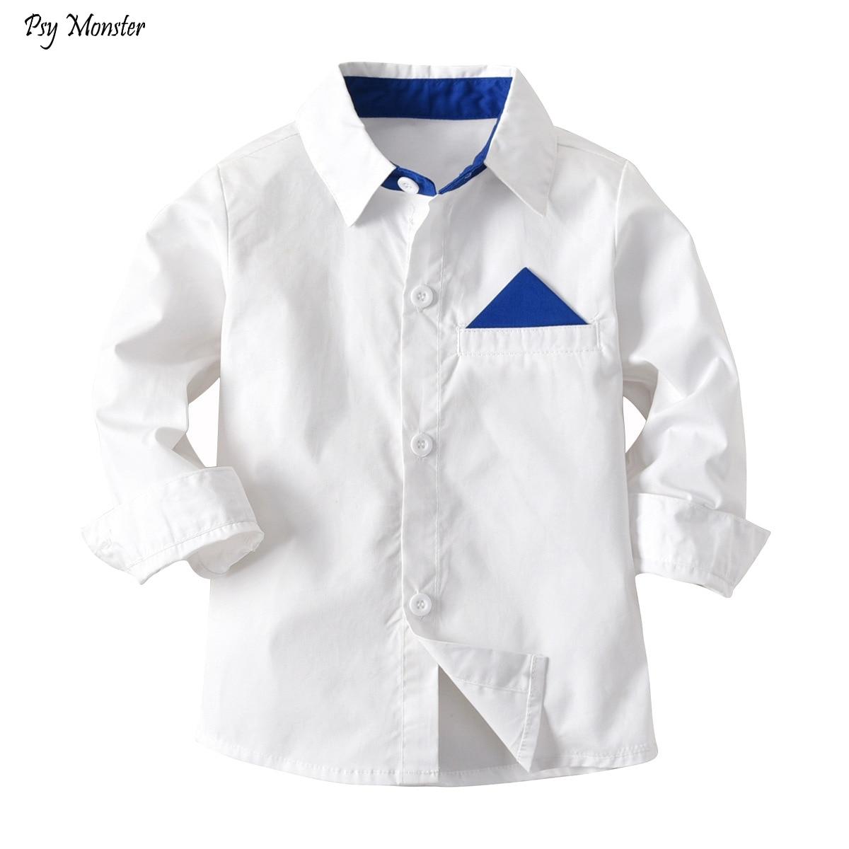 Boy's White Shirt Children's New Big Boy Shirt Kids Formal Wedding Party Long-sleeved Tops Clothes 2-10T