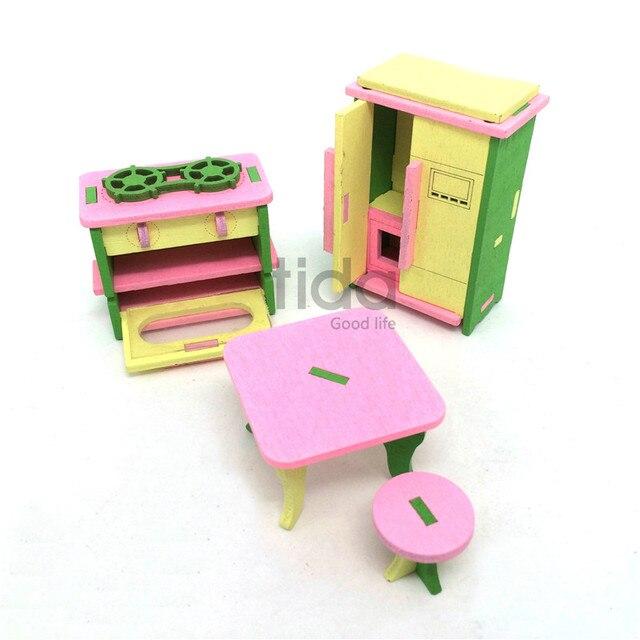 Holz Puppe Küche Möbel Spielzeug Puppenhaus Kühlschrank Gasherd ...