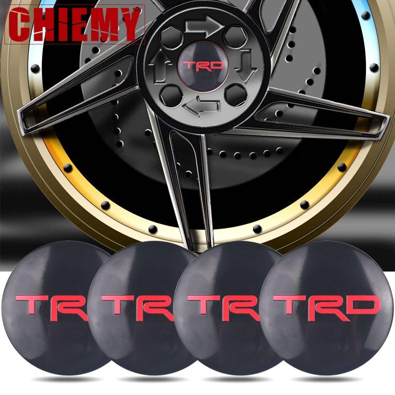 4pcs 56mm Car Tires Wheel Center Hub Caps Sticker For Toyota CROWN COROLLA REIZ TRD Racing LOGO Tire Car Accessories