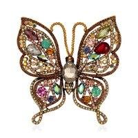 Antik Altın Metal Kelebek Broş Pin Çok Renkler Kristal Rhinestone Böcek Vintage Moda Takı Aksesuar