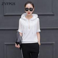 ZYFPGS 2019 2 Piece Summer Tops Set Women Tracksuit For Hooded Five-point Sleeve Design Sweatshirt 4XL SALE Z0712