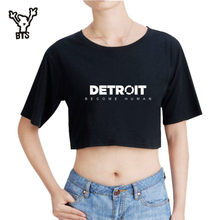 BTS 2018 New Arrival Detroit Become Human Crop Top T-shirt Hot Game 100% Cotton Short Sleeve Tshirts Women Sexy Casual Clothes(China)