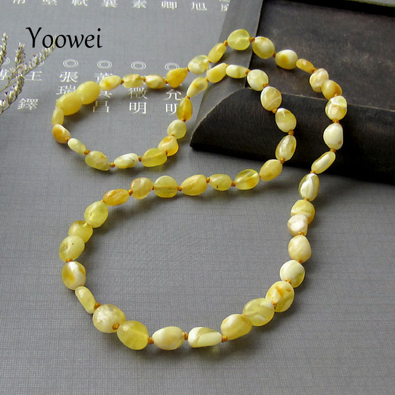 Yoowei 49cm Natural Amber Necklace for Women Original Handmade Sweater Chain Necklace Genuine Olive Bead Amber Jewelry Wholesale fashionable women s bead designed ellipse sweater chain necklace