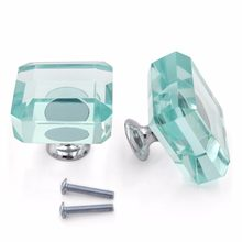 Square K9 Crystal Glass Handle Kitchen Cabinet Cupboard Furniture Door Knob Dresser Wardrobe and Drawer Pull Transparent Quality(China)