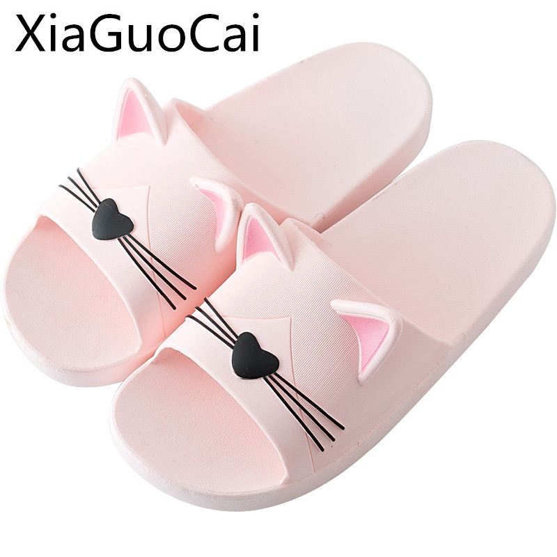 Cat Style Women's Slippers Female Summer Indoor Non-slip Bathroom Slippers Beach Slides for Ladies Couple Family Matching Shoes 2018 summer ladies thick bottom drag slope beach shoes for women casual non slip flat bottomed slippers female slides shoes