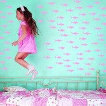 """1,"""" X 3"""" Маленькая Акула для дома, стены спальни, детской комнаты, окна ванной комнаты, Виниловая наклейка, художественный Декор"""