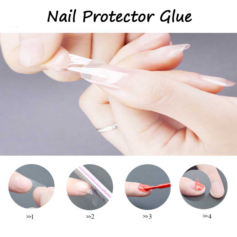 1pcs New Environmental font b Nail b font Guard Glue Full Cover Transparent Protector Sticker Easy