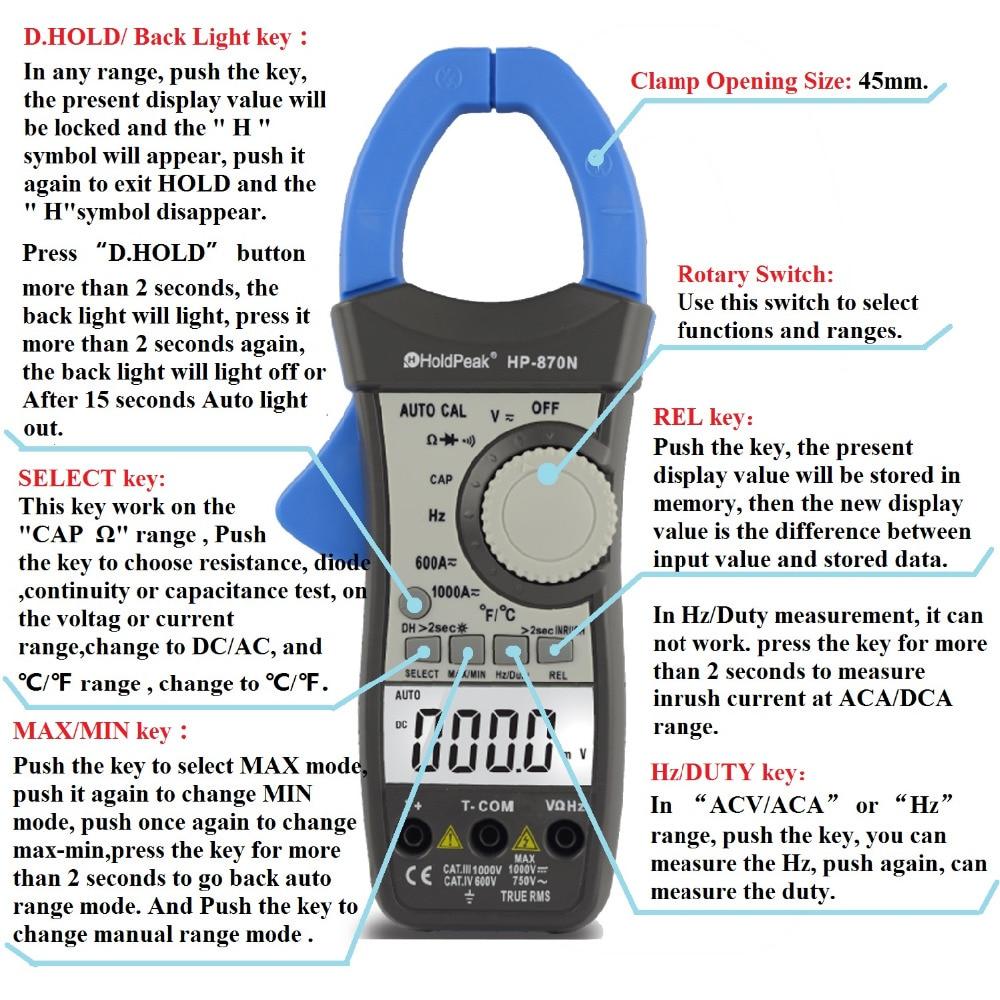 HoldPeak HP-870N Auto Range DC AC Pinza digital multímetro Pinza - Instrumentos de medición - foto 4