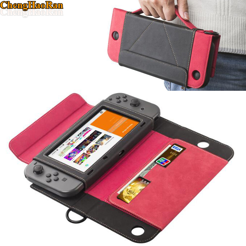 Leather Flip Protective Stand Carrying Case Wallet Shell for Nintend Switch NS Console Joy-Con W/ Card Slot+Tempered Film Cover колготки omsa superlativa размер 2 плотность 20 den nero