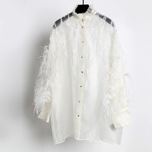 France style elegant ruffles Shirts Women 2019 summer sexy see-through & Blouses A210