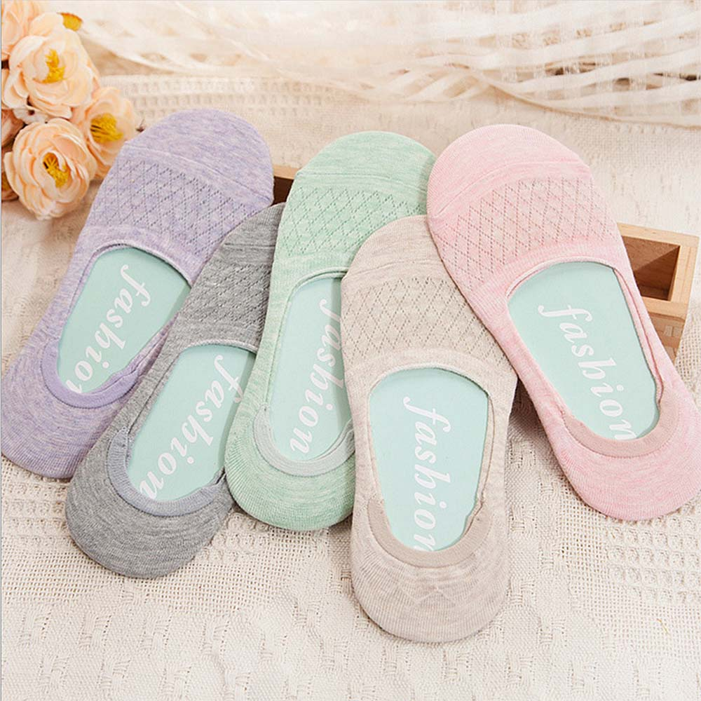 1 Pair Summer Ladies Hollowed Out Net Stocks Invisible Boat Socks Thin Shallow Mouth Silicone Non-slip Breathable Peas Socks