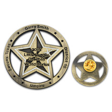 Cheap Stars Badge hot sales metal cut out effect Low Price Buttoned Five pin