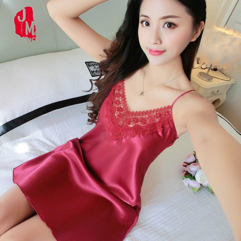 Women Sexy Nightdress Silk V-neck Lace Sleepwear Lingerie Dress Babydoll   Nightgown   Mini Sleeveless Summmer Female   Sleepshirt