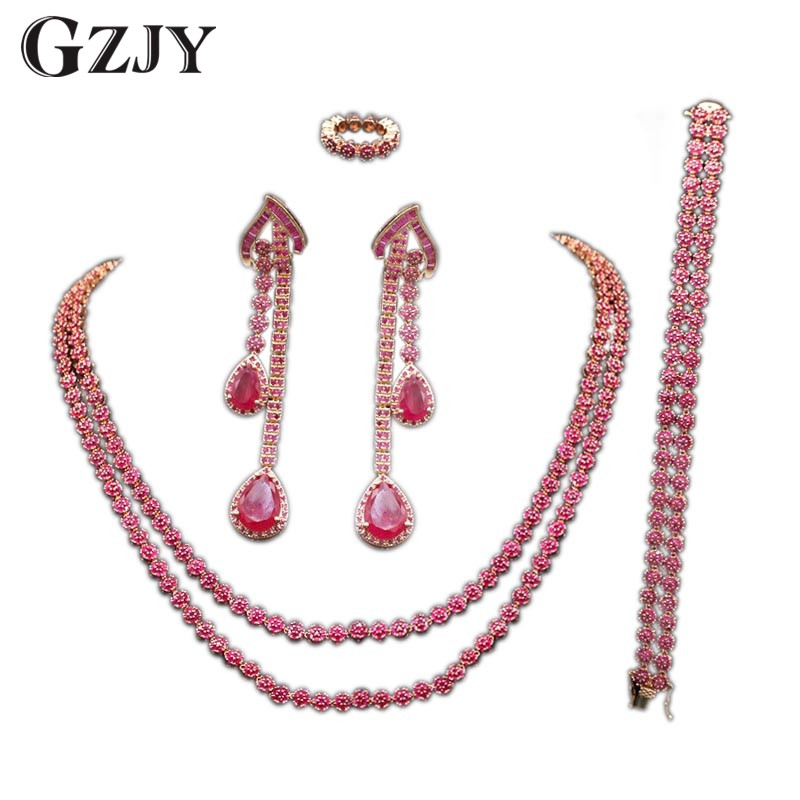 GZJY Elegant Charm Rose Gold Color Inlay Full Red Zircon Necklace Ring Earrings Bracelet For Bridal Wedding Jewelry Sets gzjy gorgeous red zircon bridal jewelry sets gold color flower necklace earrings ring bracelet sets wedding jewelry for women