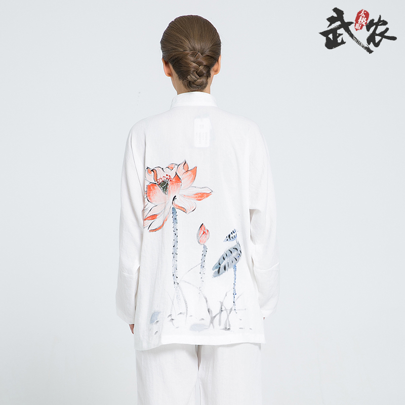 2018 New Product Tai Chi Clothing Chinese Martial Arts Uniform Hand Painted Kung Fu Clothes White And Black Colors