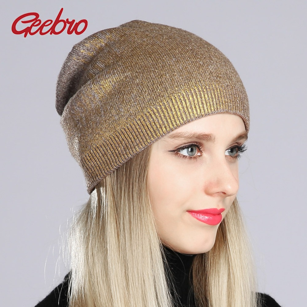 Geebro Women's Bronzing Beanies Hat 2020 Spring Cashmere Knitted Beanie For Women Ladies Hot Silver Slouchy Beanie Cap DQ181B