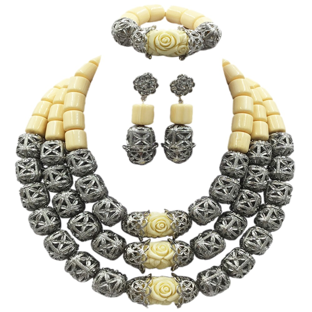 Latest White Artificial Coral Necklace Nigerian Wedding African Beads Jewelry Set for Women ACB-08 latest yellow and gold beaded artificial coral nigerian wedding african beads jewelry set acb 11