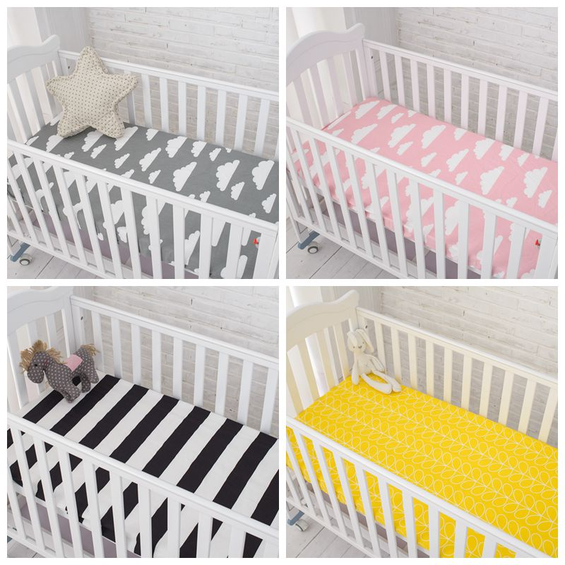 on sale 0a4a2 6791b US $12.11 43% OFF|Muslinlife Cotton Baby Fitted Sheet Cartoon Crib Mattress  Protector,baby bed sheet for crib size(130*70/120*60/120*65cm)-in Sheets ...
