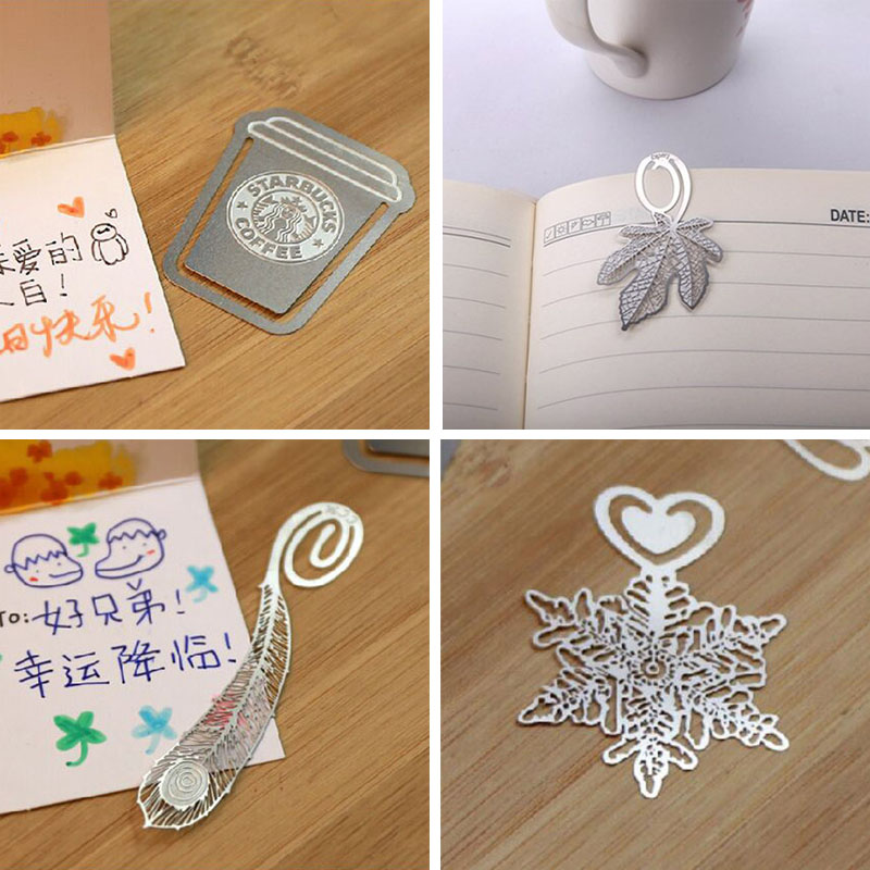 Cute Lovely Metal Gold Silver Snowflake Bookmark Paper Clip for book Creative Gift Korea Stationery Free shipping 437