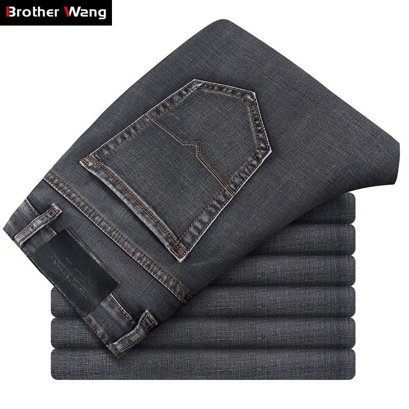 Brand Men Grey Casual   Jeans   2019 New Fashion Business Stretch Straight Denim Trousers Pants Male Plus Size 40 42 44