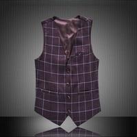 Mens Suit Vest Plaid Sleeveless Male Waistcoat Slim Fit Vest Waistcoat Business Wedding Classic Colete Masculino Social Blazer