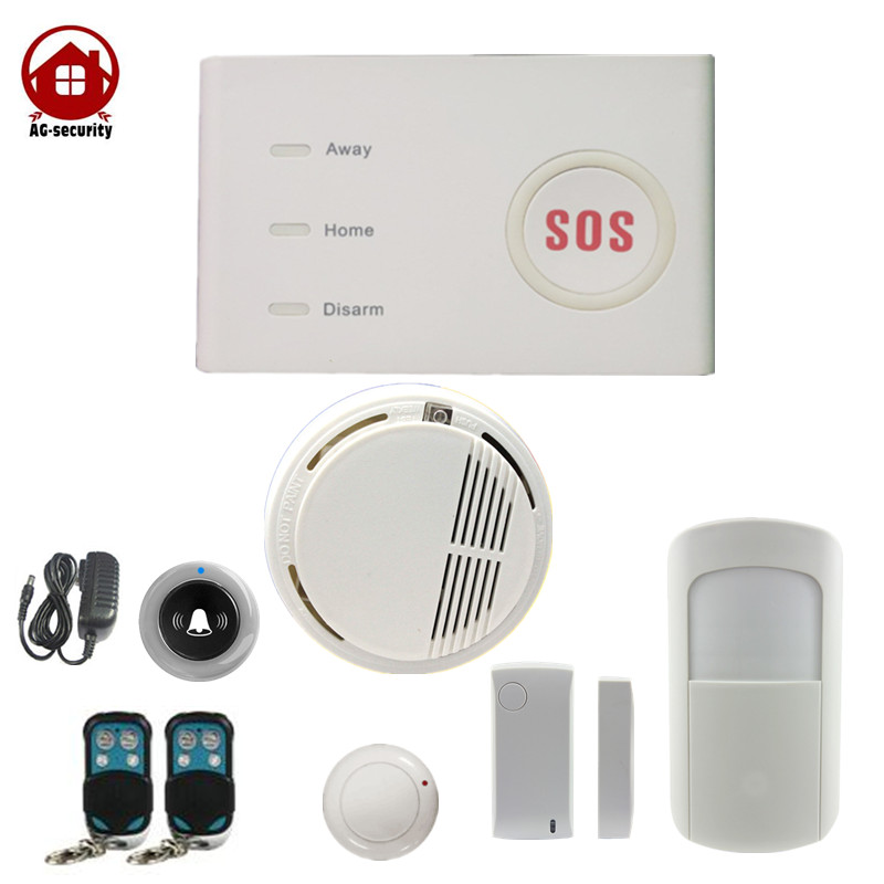 Smart Home WIFI GSM alarm system Wireless doorbell function Burglar Security with Gas Detetcor Fire Smoke Sensor PIR Door Sensor wireless smoke fire detector for wireless for touch keypad panel wifi gsm home security burglar voice alarm system