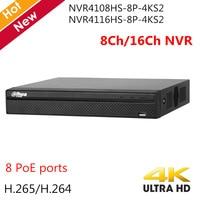 English Dahua 4K 8CH NVR 16CH NVR Recorder H.265 8 PoE ports Max 80Mbps NVR4108HS 8P 4KS2 NVR4116HS 8P 4KS2 for IP cameras