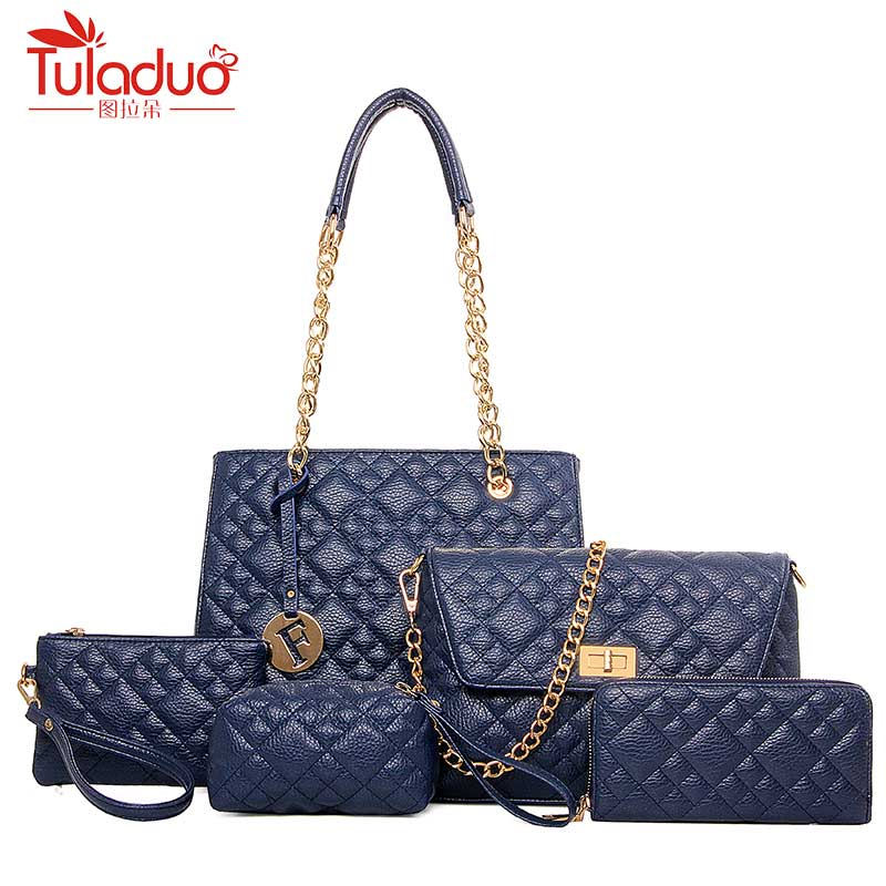 Brand Fashion 5Pcs/Set Shoulder Bags Plaid Crossbody Bags Women High Quality PU Leather Handbags Chain Ladies Hand Bags Designer xiyuan brand ladies beautiful and high grade imports pu leather national floral embroidery shoulder crossbody bags for women