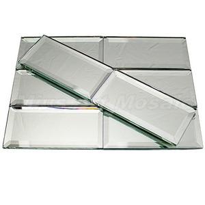Azulejos de vidrio espejado de decoración de pared de diseño clásico de 3x6 pulgadas (75x150mm)